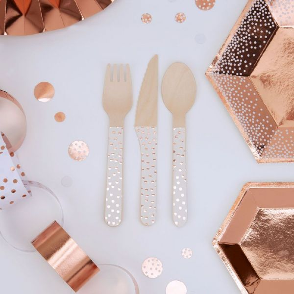 Merry Christmas Rose Gold & White Wooden Cutlery (24)